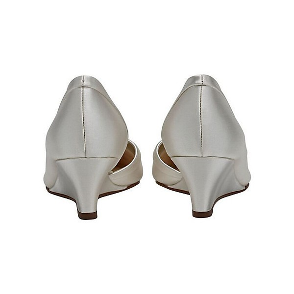 Ivory Bridal Heels Satin Wedge Pumps for Wedding image 2