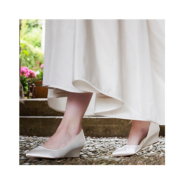 Ivory Bridal Heels Satin Wedge Pumps for Wedding image 4