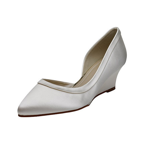 Ivory Bridal Heels Satin Wedge Pumps for Wedding image 1