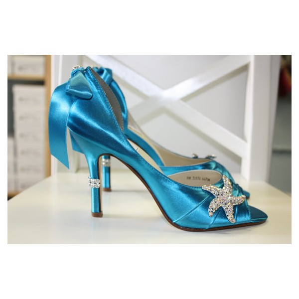 Blue Wedding Heels Satin Starfish Rhinestone Bow Pumps for Brides image 4