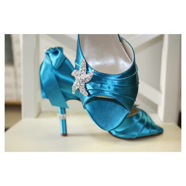 Blue Wedding Heels Satin Starfish Rhinestone Bow Pumps for Brides image 6