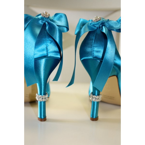 Blue Wedding Heels Satin Starfish Rhinestone Bow Pumps for Brides image 2