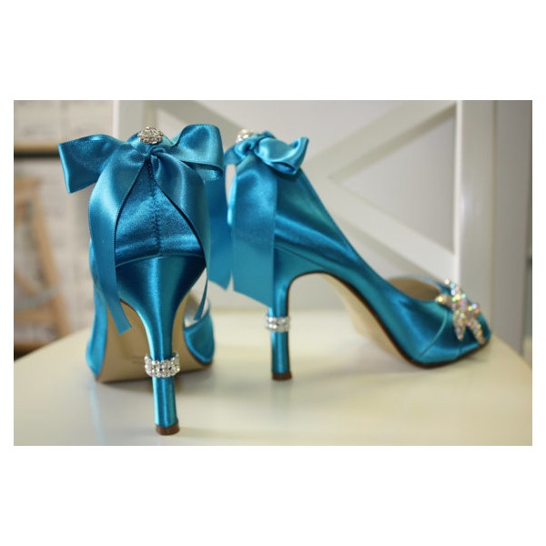 Blue Wedding Heels Satin Starfish Rhinestone Bow Pumps for Brides image 3