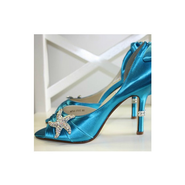 Blue Wedding Heels Satin Starfish Rhinestone Bow Pumps for Brides image 1