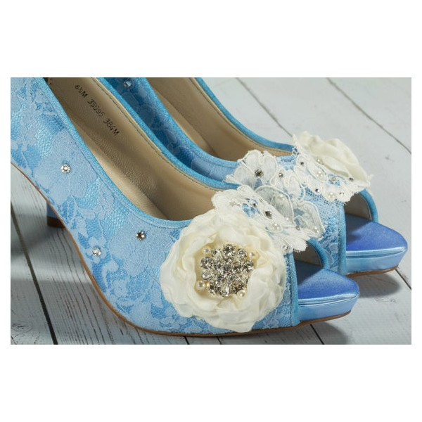 Blue Wedding Shoes Peep Toe Lace Heels with Flower image 2