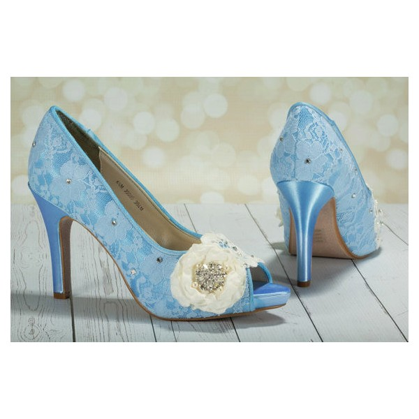 Blue Wedding Shoes Peep Toe Lace Heels with Flower image 3