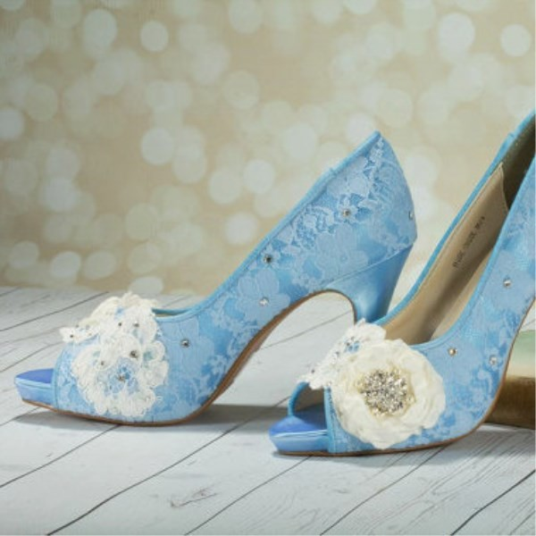Blue Wedding Shoes Peep Toe Lace Heels with Flower image 1