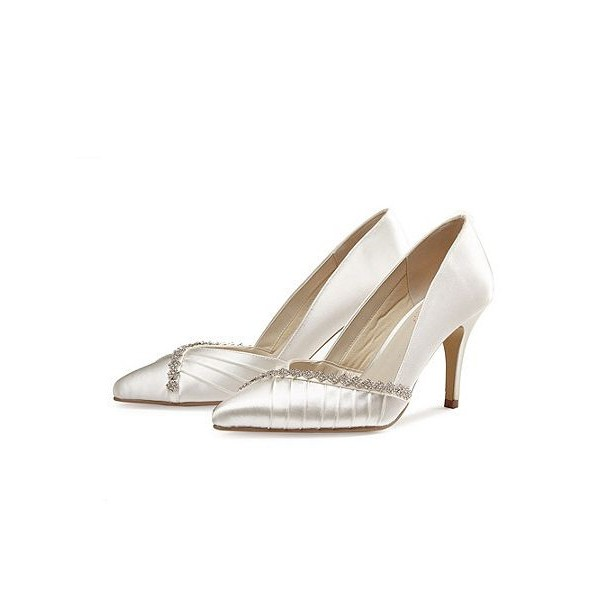 Women's White Pointed Toe Low-cut Uppers Satin Rhinestone Stiletto Heel Pumps Bridal Heels image 1