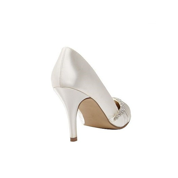 Women's White Pointed Toe Low-cut Uppers Satin Rhinestone Stiletto Heel Pumps Bridal Heels image 3