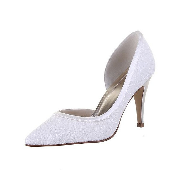 White Wedding Shoes Lace Heels D'orsay Pumps for Bridal image 2