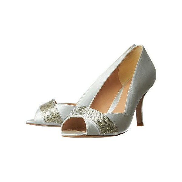 Women's White Low-cut Uppers Satin Stiletto Heels Bridal Shoes image 1