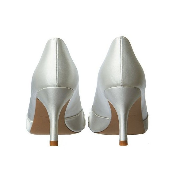 Women's White Low-cut Uppers Satin Stiletto Heels Bridal Shoes image 2