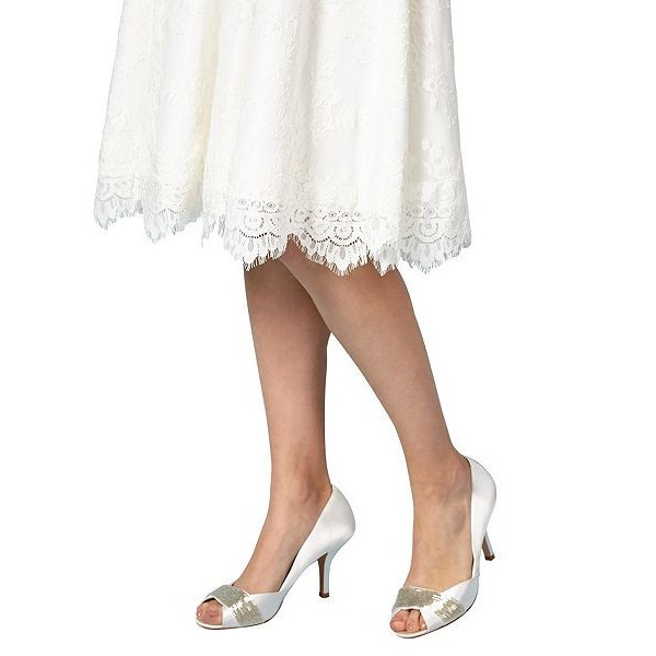 Women's White Low-cut Uppers Satin Stiletto Heels Bridal Shoes image 5
