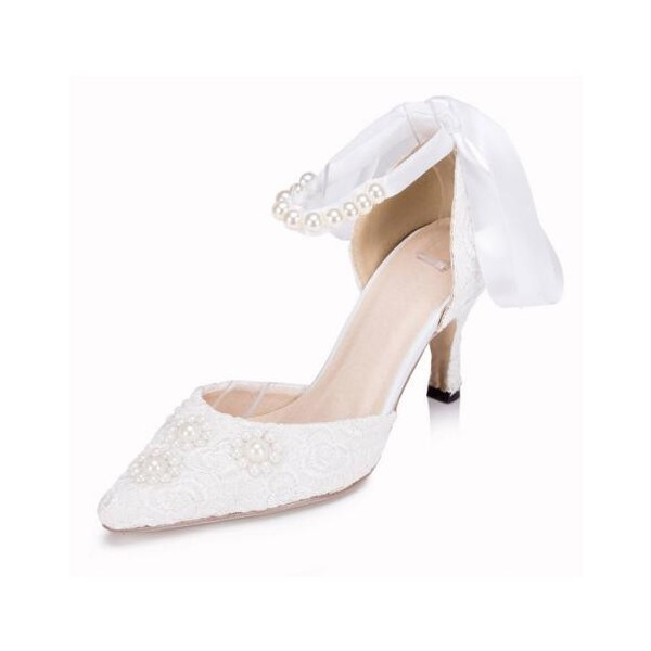 White Wedding Shoes Ankle Strap Lace Heels for Bride image 1