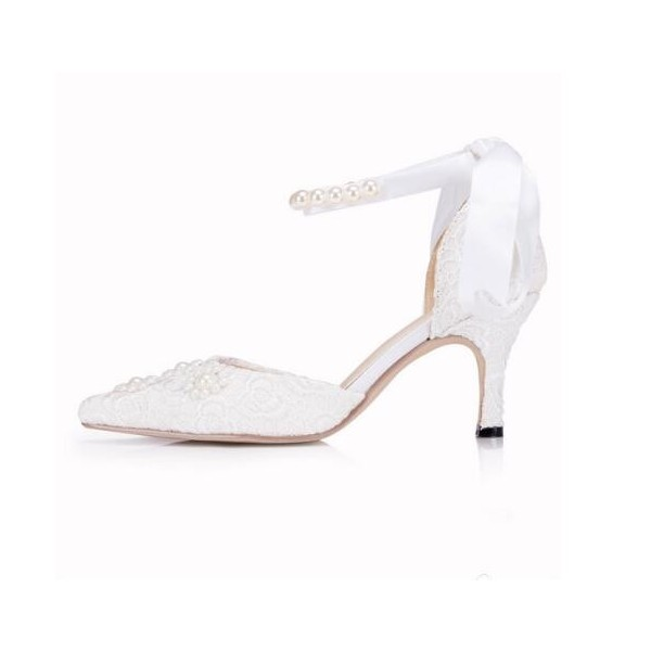 White Wedding Shoes Ankle Strap Lace Heels for Bride image 3