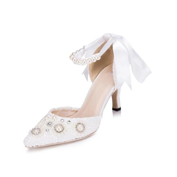 White Bridal Shoes Ankle Strap Lace Heels with Rhinestones image 1