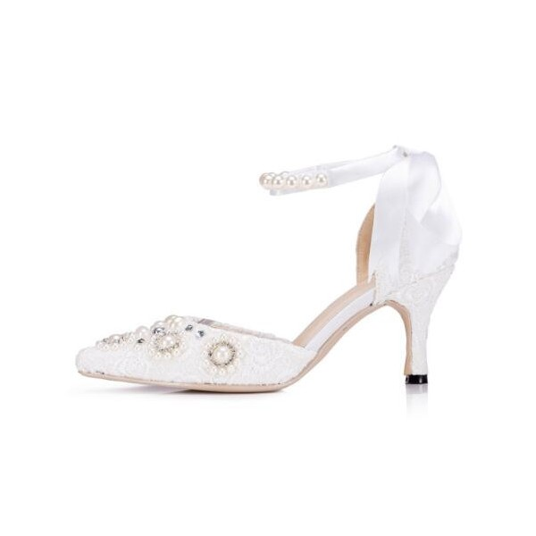 White Bridal Shoes Ankle Strap Lace Heels with Rhinestones image 2