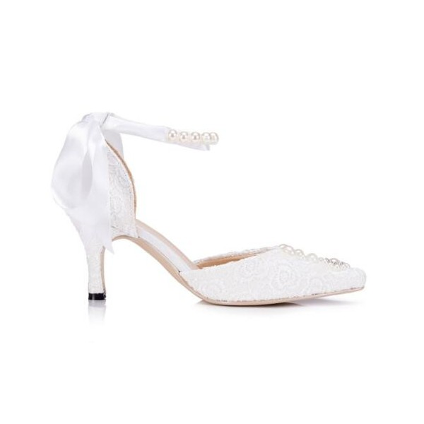 White Bridal Shoes Ankle Strap Lace Heels with Rhinestones image 3