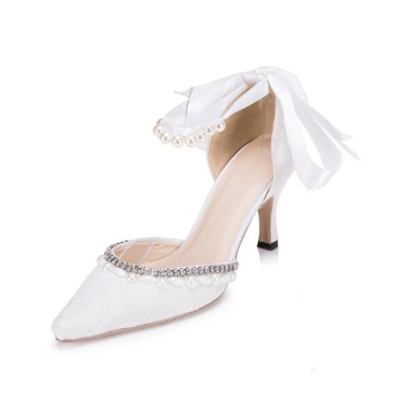 White Bridal Shoes Ankle Strap Rhinestone Lace Heels for Wedding image 1
