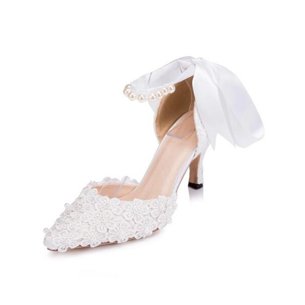 White Bridal Shoes Closed Toe Ankle Strap Lace Heels for Wedding image 1