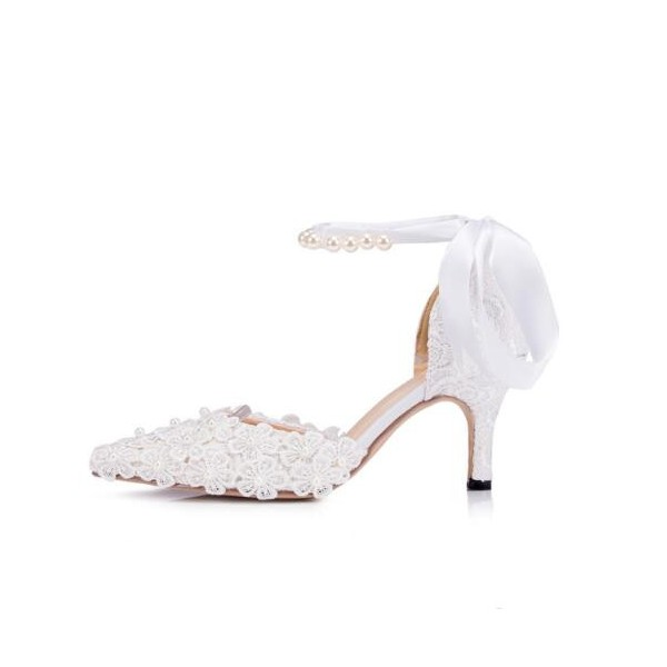 White Bridal Shoes Closed Toe Ankle Strap Lace Heels for Wedding image 2