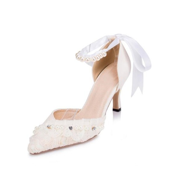 Women's White Bow Lace Pearl Ankle Strap Kitten Heel Bridal Shoes  image 1