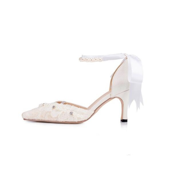 Women's White Bow Lace Pearl Ankle Strap Kitten Heel Bridal Shoes  image 2