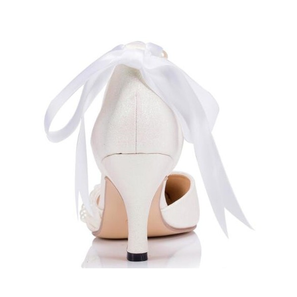 Women's White Bow Lace Pearl Ankle Strap Kitten Heel Bridal Shoes  image 3