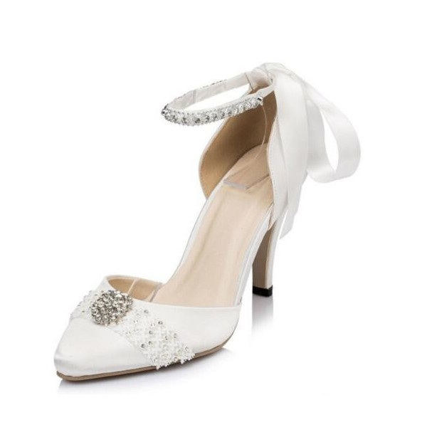 White Bridal Shoes Rhinestone Ankle Strap Lace Heels for Wedding image 1