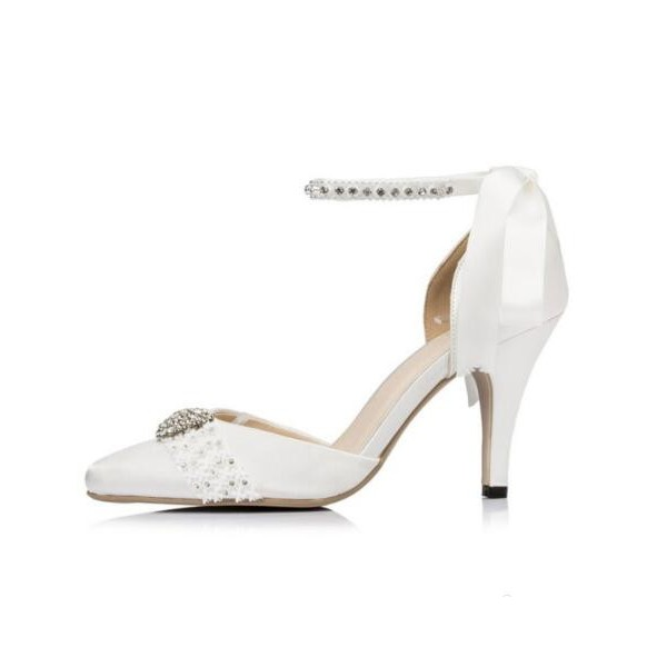 White Bridal Shoes Rhinestone Ankle Strap Lace Heels for Wedding image 3