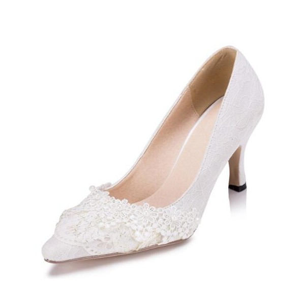 White Bridal Shoes Lace Heels Pointy Toe Pumps for Wedding image 1
