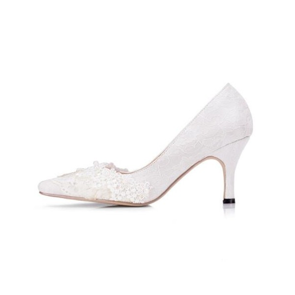 White Bridal Shoes Lace Heels Pointy Toe Pumps for Wedding image 2
