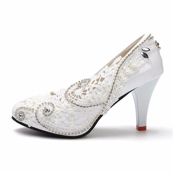White Bridal Shoes Floral Lace Heels Rhinestone Chunky Heel Pumps image 2