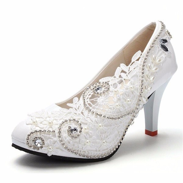 White Bridal Shoes Floral Lace Heels Rhinestone Chunky Heel Pumps image 3