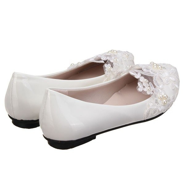 White Wedding Flats Lace Comfortable Shoes for Bridesmaid image 4