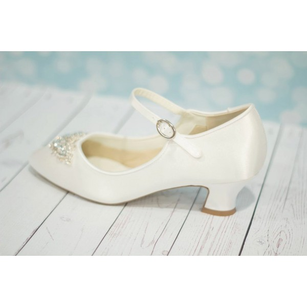White Wedding Heels Satin Vintage Heels Mary Jane Pumps for Bridesmaid image 4