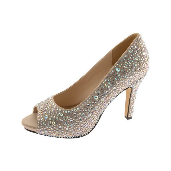 Women's Khaki 4 Inch Heels Wedding Shoes Rhinestone Peep Toe Heels image 1