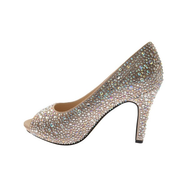 ... Womenu0027s Khaki 4 Inch Heels Wedding Shoes Rhinestone Peep Toe Heels  Image 2 ...