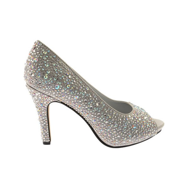 Women's Grey Low-cut Uppers Rhinestone Stiletto Heel Bridal Shoes image 3