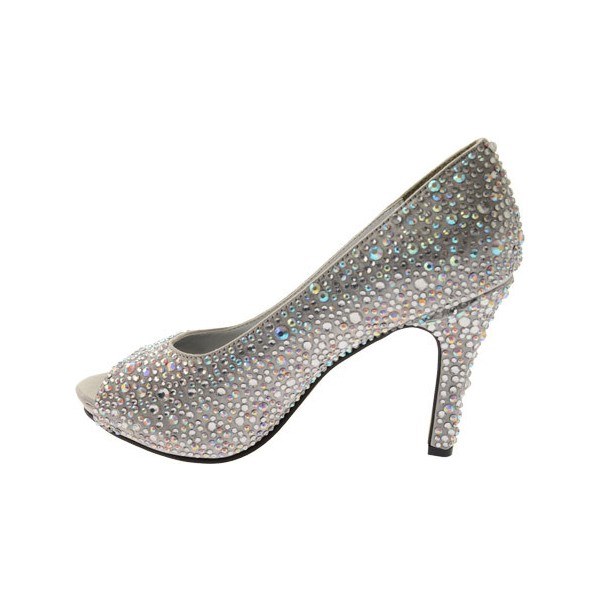 Women's Grey Low-cut Uppers Rhinestone Stiletto Heel Bridal Shoes image 4