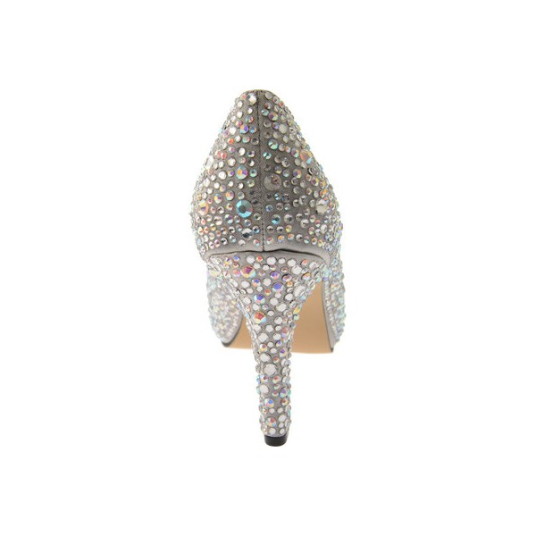 Women's Grey Low-cut Uppers Rhinestone Stiletto Heel Bridal Shoes image 2