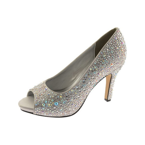 Women's Grey Low-cut Uppers Rhinestone Stiletto Heel Bridal Shoes image 1
