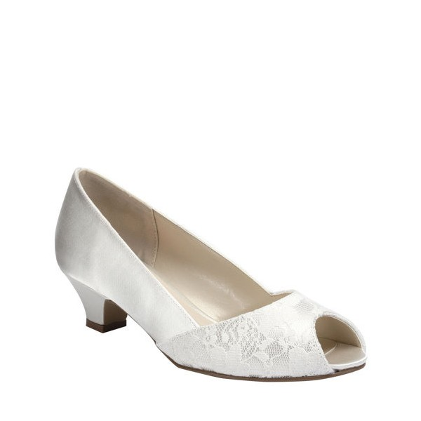 White Low Heel Wedding Shoes Lace and Satin Peep Toe Pumps image 2