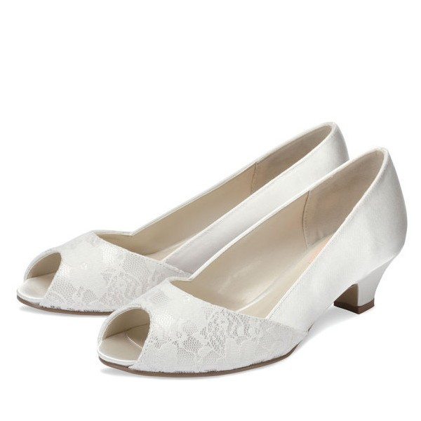 White Low Heel Wedding Shoes Lace and Satin Peep Toe Pumps image 1