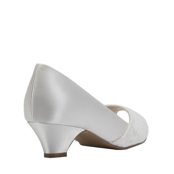 White Low Heel Wedding Shoes Lace and Satin Peep Toe Pumps image 4