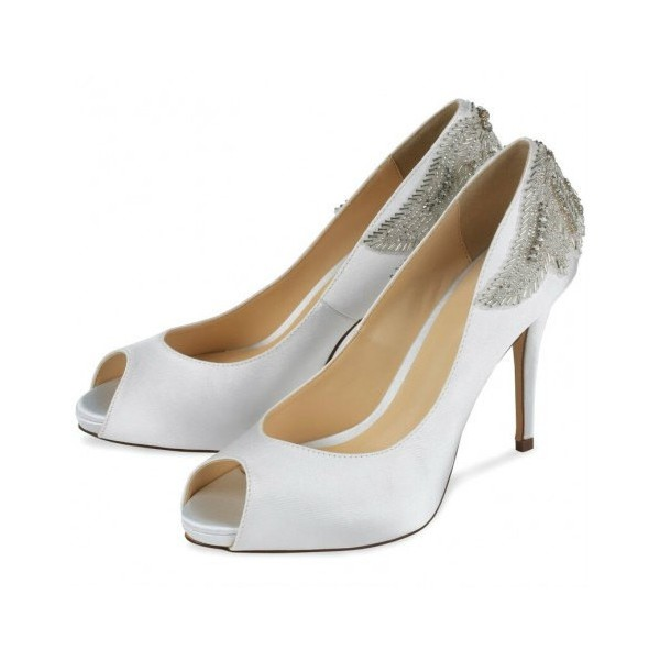 White Satin Jeweled Sandals Peep Toe Stiletto Pencil Heel Bridal Shoes image 1