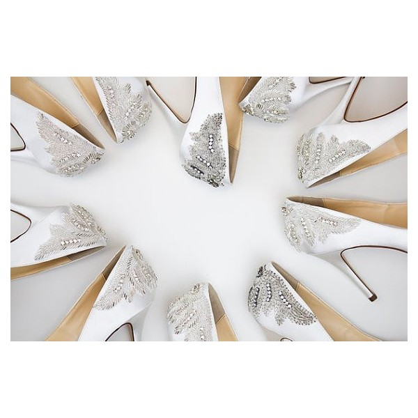 White Satin Jeweled Sandals Peep Toe Stiletto Pencil Heel Bridal Shoes image 3