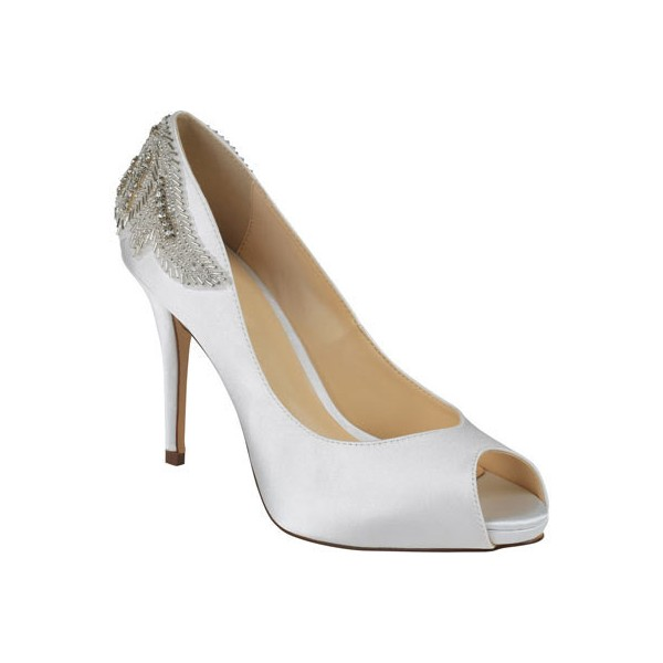 White Satin Jeweled Sandals Peep Toe Stiletto Pencil Heel Bridal Shoes image 2