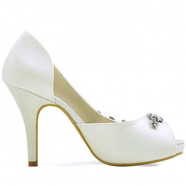 Women's White Satin Dorsay Pumps Crystal Platform Pencil Heel Bridal Heels image 2