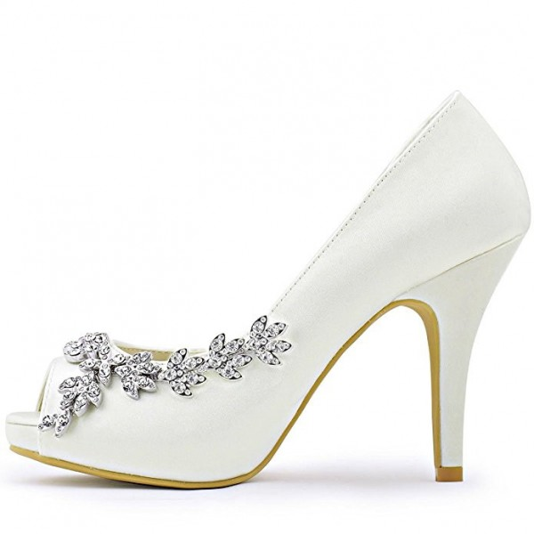 Women's White Satin Dorsay Pumps Crystal Platform Pencil Heel Bridal Heels image 1